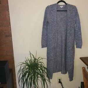 Heather gray duster cardigan w/ pockets S/M